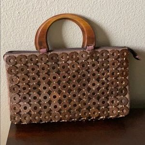 Handmade Woven Purse with Coconut Shell Decoration